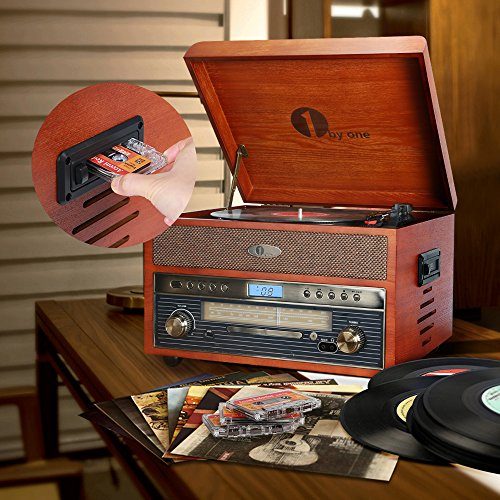 Home Cds And Vinyl 1byone Nostalgic Wooden Turntable Bluetooth Record Player With Am Fm Cd Mp3 Recording To Usb Aux Input For Smartphones